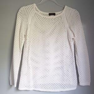 marc. White Netting Long Sleeve Sweater Top Medium